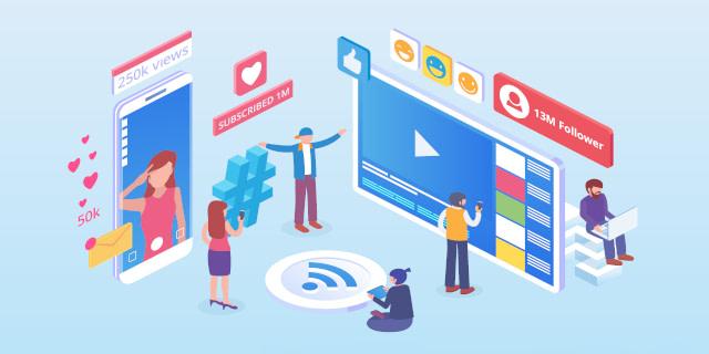 illustration of social media and influencer marketing